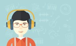 Νέος τύπος με το ακουστικό Στοκ φωτογραφίες με δικαίωμα ελεύθερης χρήσης