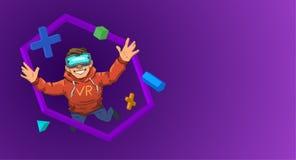 Νέος τύπος στην κάσκα VR που πετά μεταξύ των τρισδιάστατων αντικειμένων στο μαύρο υπόβαθρο Ευτυχές παιδί στην εικονική πραγματικό Διανυσματική απεικόνιση