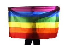 Νέος υπερήφανος ομοφυλόφιλος που διαδίδει την ευρεία μεγάλη ομοφυλοφιλική σημαία υπερηφάνειας με τη σκιά του πίσω από το ύφασμα στοκ εικόνα
