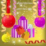 Νέος χαιρετισμός έτους και Χριστουγέννων διανυσματική απεικόνιση