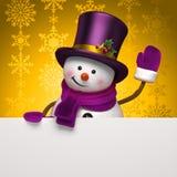 Νέος χαιρετισμός χιονανθρώπων έτους Στοκ φωτογραφία με δικαίωμα ελεύθερης χρήσης