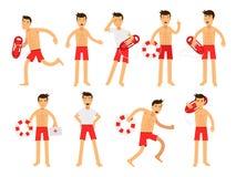 Νέος χαρακτήρας ατόμων lifeguard που κάνει το σύνολο εργασίας του Διάσωση νερού των ζωηρόχρωμων διανυσματικών απεικονίσεων Στοκ Εικόνα