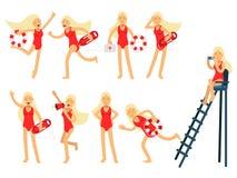 Νέος χαρακτήρας γυναικών lifeguard που κάνει το σύνολο εργασίας της Διάσωση νερού των ζωηρόχρωμων διανυσματικών απεικονίσεων Στοκ φωτογραφία με δικαίωμα ελεύθερης χρήσης