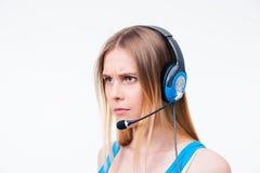 0 νέος χειριστής γυναικών στην κάσκα Στοκ Φωτογραφία