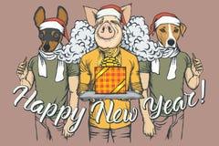 Νέος χοίρος έννοιας έτους διανυσματικός και δύο σκυλιά διανυσματική απεικόνιση