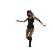Νέος χορευτής γυναικών Χορεύοντας σκιαγραφία στοκ φωτογραφίες με δικαίωμα ελεύθερης χρήσης
