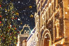 Νέος χρόνος στη Μόσχα, όμορφη κόκκινη πλατεία με τις καταπληκτικές διακοσμήσεις Χριστουγέννων στοκ φωτογραφία με δικαίωμα ελεύθερης χρήσης