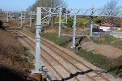 Νέος electrific εξοπλισμός poulton-LE-Fylde ραγών Στοκ Φωτογραφίες