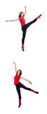 Νέος gymnast που ασκεί στο λευκό Στοκ φωτογραφίες με δικαίωμα ελεύθερης χρήσης