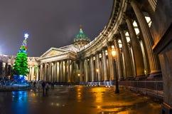 Νέος Kazan έτους καθεδρικός ναός σε Άγιο Πετρούπολη Στοκ εικόνα με δικαίωμα ελεύθερης χρήσης