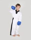 Νέος kickboxing μαχητής αγοριών που απομονώνεται στο λευκό Στοκ εικόνες με δικαίωμα ελεύθερης χρήσης