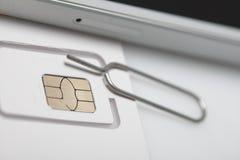 Νέος sim καρτών μικροϋπολογιστής και πρότυπα σχήματος νανο Στοκ Φωτογραφία