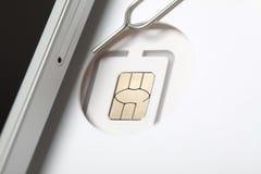 Νέος sim καρτών μικροϋπολογιστής και πρότυπα σχήματος νανο Στοκ Φωτογραφίες