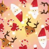 Νέο άνευ ραφής σχέδιο έτους Ατελείωτο πρότυπο Χριστουγέννων Στοκ Φωτογραφία