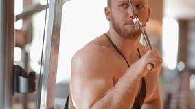 Νέο άσπρο bodybuilder που εκπαιδεύει triceps στη γυμναστική απόθεμα βίντεο