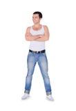 Νέο άτομο μόδας που στέκεται πέρα από το λευκό Στοκ Φωτογραφία