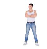 Νέο άτομο μόδας που στέκεται πέρα από το λευκό Στοκ εικόνες με δικαίωμα ελεύθερης χρήσης
