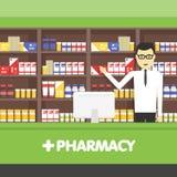 Νέο άτομο φαρμακοποιών φαρμακείων που στέκεται στο φαρμακείο Διανυσματικές επίπεδες απεικονίσεις ελεύθερη απεικόνιση δικαιώματος