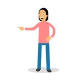 Νέο άτομο brunette στο ρόδινο πουλόβερ που στέκεται και που γελά με τη διανυσματική απεικόνιση χαρακτήρα κινουμένων σχεδίων δακρυ Στοκ φωτογραφία με δικαίωμα ελεύθερης χρήσης