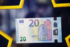 Νέο έγγραφο χρημάτων νομίσματος λογαριασμών 20 ευρο- τραπεζογραμματίων ευρωπαϊκά Στοκ εικόνα με δικαίωμα ελεύθερης χρήσης