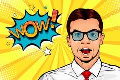 Νέο έκπληκτο άτομο στα γυαλιά με το ανοικτές στόμα και wow τη λεκτική φυσαλίδα Λαϊκή απεικόνιση τέχνης ελεύθερη απεικόνιση δικαιώματος