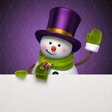 Νέο έμβλημα χαιρετισμού καπέλων χιονανθρώπων έτους Στοκ Εικόνες