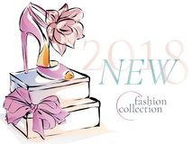 Νέο έμβλημα promo διαφήμισης συλλογής παπουτσιών μόδας, πρότυπο Ιστού αγγελιών μέσων on-line αγορών κοινωνικό με τα όμορφα τακούν Στοκ φωτογραφίες με δικαίωμα ελεύθερης χρήσης