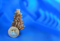 Νέο έξυπνο σφαιρικό ηλεκτρονικό νόμισμα Bitcoin Στοκ Εικόνα