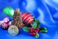 Νέο έξυπνο σφαιρικό ηλεκτρονικό νόμισμα Bitcoin Στοκ Φωτογραφία