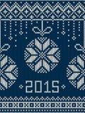 Νέο έτος 2015 Άνευ ραφής πλεκτό σχέδιο χειμερινών διακοπών Στοκ Εικόνες