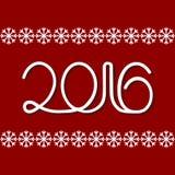 Νέο έτος 2016 άσπροι αριθμοί Στοκ Φωτογραφίες