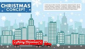 νέο έτος έννοιας Χριστου&gamm Λεπτομερής απεικόνιση του κόκκινου φορτηγού παράδοσης στο υπόβαθρο με τη εικονική παράσταση πόλης σ Στοκ Φωτογραφίες