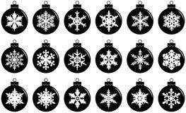 νέο έτος έννοιας Χριστου&gamm Σύνολο διαφορετικών σφαιρών διακοσμήσεων Χριστουγέννων σκιαγραφιών που απομονώνεται στο άσπρο υπόβα Στοκ εικόνα με δικαίωμα ελεύθερης χρήσης