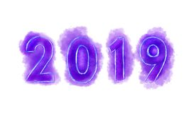 2019 νέο έτος, αριθμοί της πορφύρας διανυσματική απεικόνιση