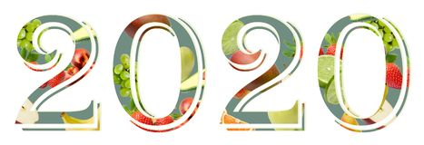 Νέο έτος 2020 αριθμών σε ένα άσπρο υπόβαθρο που διακοσμείται με τη σύνθεση φρούτων στοκ φωτογραφίες