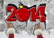 Νέο έτος 2014 γκράφιτι διανυσματική απεικόνιση