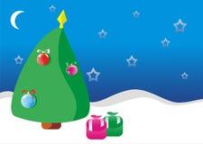 νέο έτος δέντρων δώρων απεικόνιση αποθεμάτων