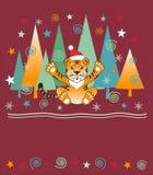 νέο έτος δέντρων τιγρών ανασ&ka διανυσματική απεικόνιση