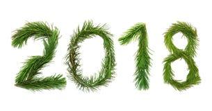 2018 νέο έτος Δεκαοχτώ νέο έτος δύο χιλιάδων Οι αριθμοί αποτελούνται από τους κλάδους πεύκων δέντρων Στοκ Φωτογραφία