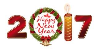 Νέο έτος 2017 Δημιουργικό σχέδιο ευχετήριων καρτών με το στεφάνι Χριστουγέννων Στοκ φωτογραφία με δικαίωμα ελεύθερης χρήσης