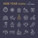 νέο έτος εικονιδίων Στοιχεία γιορτής Χριστουγέννων Στοκ Εικόνες