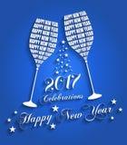 Νέο έτος 2017 εορτασμοί - μοντέρνο σχέδιο ψησίματος γυαλιού κρασιού ελεύθερη απεικόνιση δικαιώματος