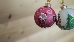 νέο έτος διακοσμήσεων Χριστουγέννων Θολωμένο bokeh υπόβαθρο διακοπών Αναβοσβήνοντας γιρλάντα Αστραπή φω'των χριστουγεννιάτικων δέ απόθεμα βίντεο