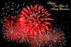 Νέο έτος 2019, κάρτα Χριστουγέννων και πυροτεχνήματα στοκ εικόνες με δικαίωμα ελεύθερης χρήσης
