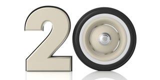 Νέο έτος 2020 και αυτοκίνητο 20 με την αναδρομική εκλεκτής ποιότητας ρόδα αυτοκινήτων που απομονώνεται στο άσπρο υπόβαθρο τρισδιά ελεύθερη απεικόνιση δικαιώματος