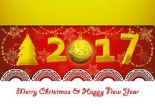 Νέο έτος 2017 και ευχετήρια κάρτα Χαρούμενα Χριστούγεννας στο κόκκινο υπόβαθρο Στοκ εικόνα με δικαίωμα ελεύθερης χρήσης