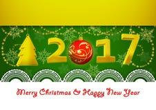 Νέο έτος 2017 και ευχετήρια κάρτα Χαρούμενα Χριστούγεννας στο πράσινο υπόβαθρο Στοκ φωτογραφία με δικαίωμα ελεύθερης χρήσης