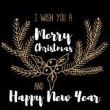 Νέο έτος και κάρτα Χαρούμενα Χριστούγεννας Στοκ Εικόνα