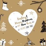 Νέο έτος και κάρτα Χαρούμενα Χριστούγεννας Στοκ Εικόνες