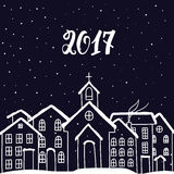 Νέο έτος και κάρτα Χριστουγέννων με τα σπίτια στο διάνυσμα Στοκ Φωτογραφίες